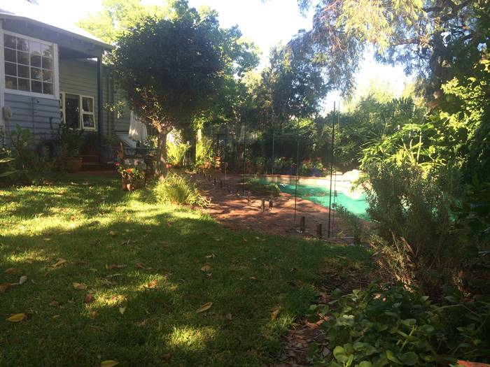garden pool glass fence installed
